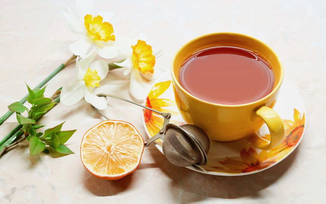 tea cup flowers fruit orange wallpaper