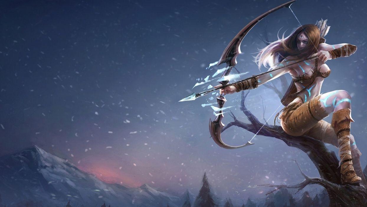 League Of Legends fantasy art women girl warrior weapons archer bow wallpaper