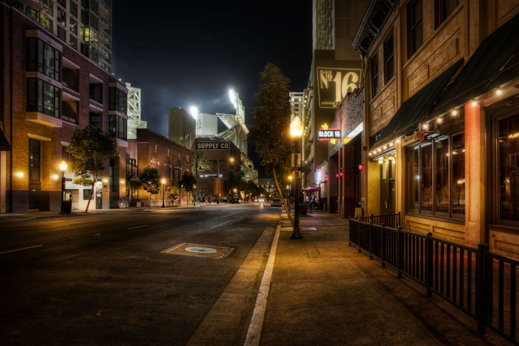 _      1 a a USA Roads San Diego Night Street lights Pavement Street HDR architecture buildings night lights shops wallpaper