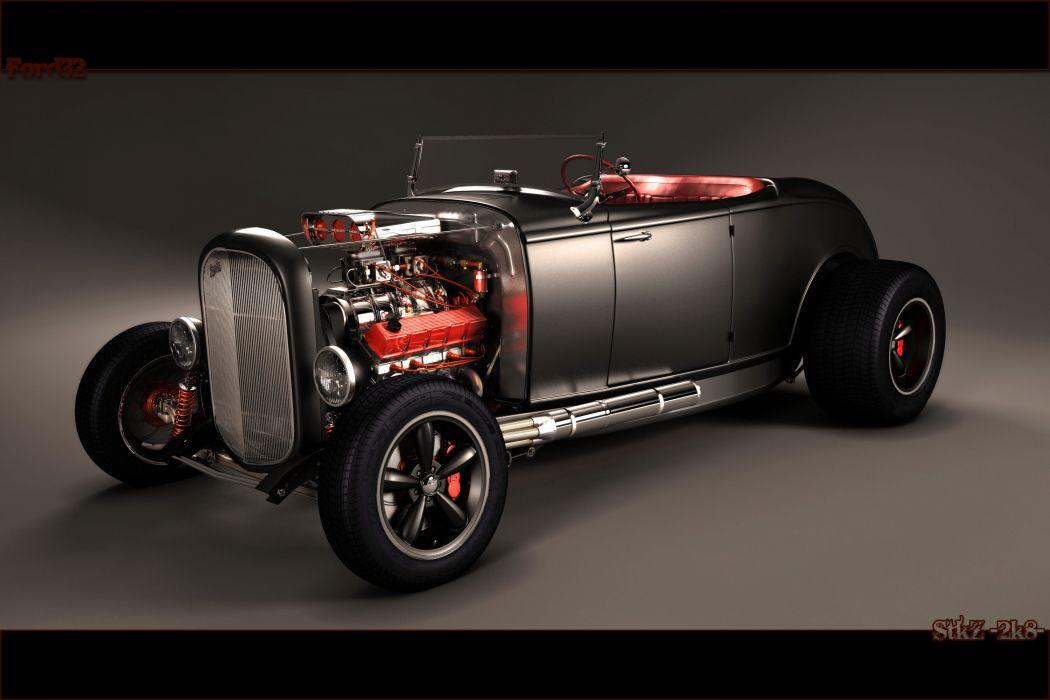 retro classic hot rod custom engines wallpaper