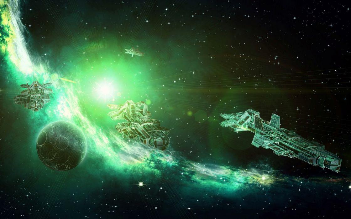 sci fi science outer spaceship spacecraft nebula stars sun futuristic wallpaper
