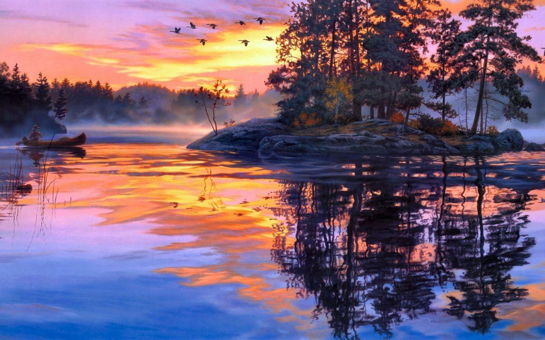 darrell bush art paintings lakes water reflection sky clouds sunset sunrise boats fishing people birds islands fog wallpaper