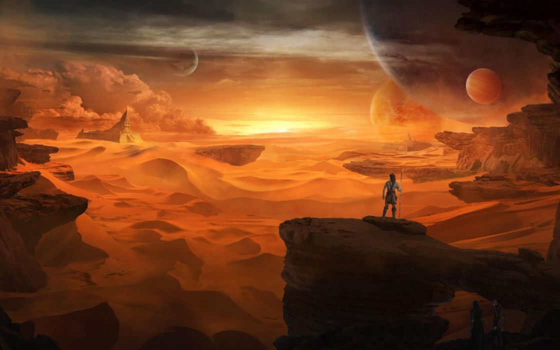 fantasy art landscapes warriors spear sci fi planets sky sunset sunrise people wallpaper