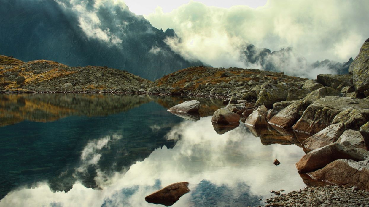 landscapes lakes reflection water mountains clouds wallpaper