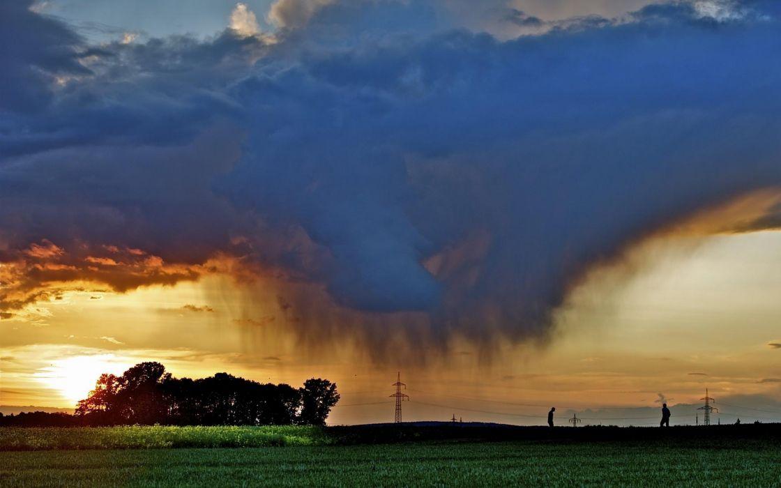 landscapes trees farm rustic clouds storm rain sunset sunrise wallpaper