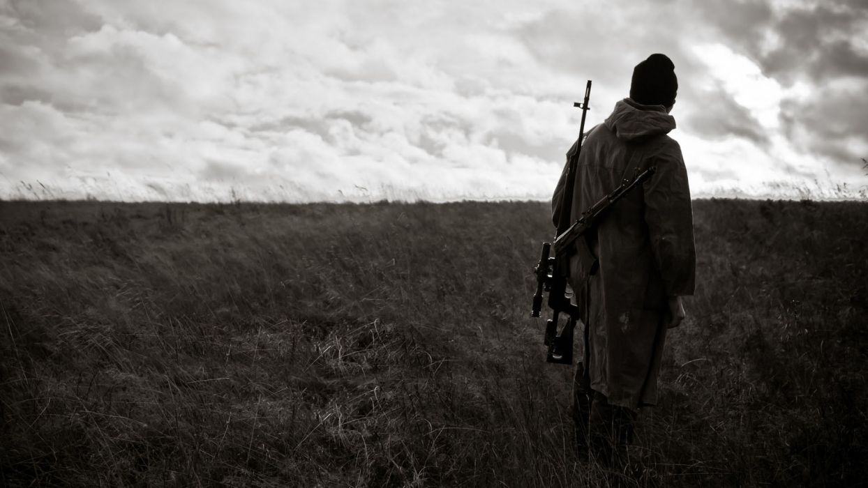 military soldier warriors weapns guns rifles hunting nature landscapes sky clouds wallpaper