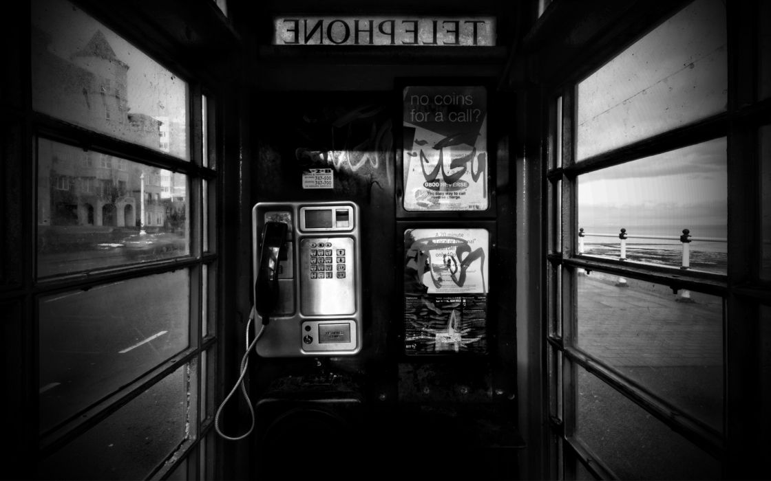 other world black white bw phone booth urban windows wallpaper