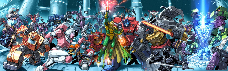 Multi Monitor Dual Screen GI Joe vs Transformers Comics superhero weapons wallpaper