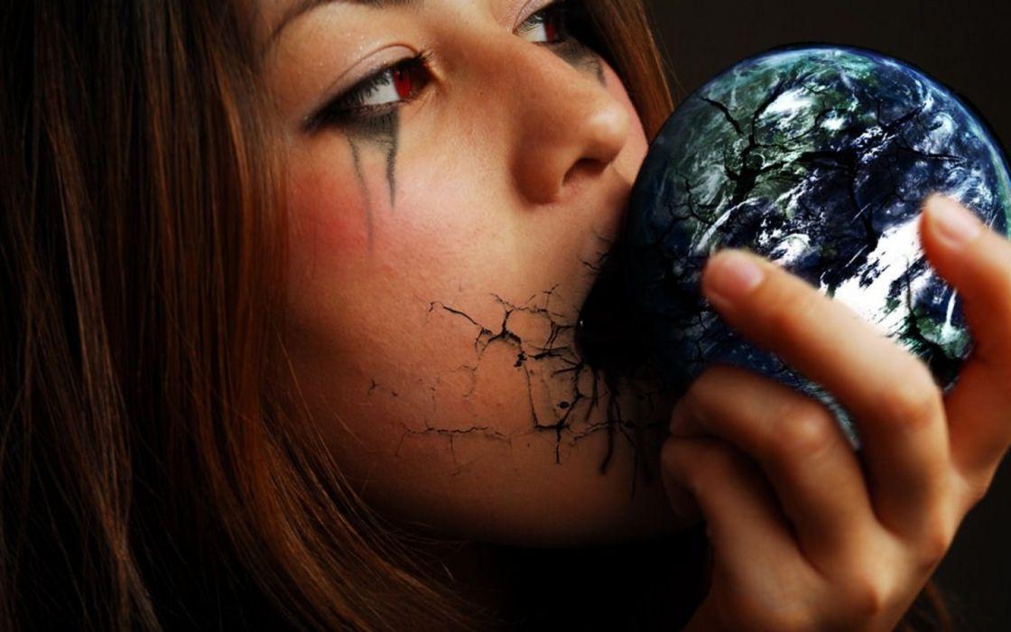 cg digital art gothic dark horror women face eyes mood earth wallpaper