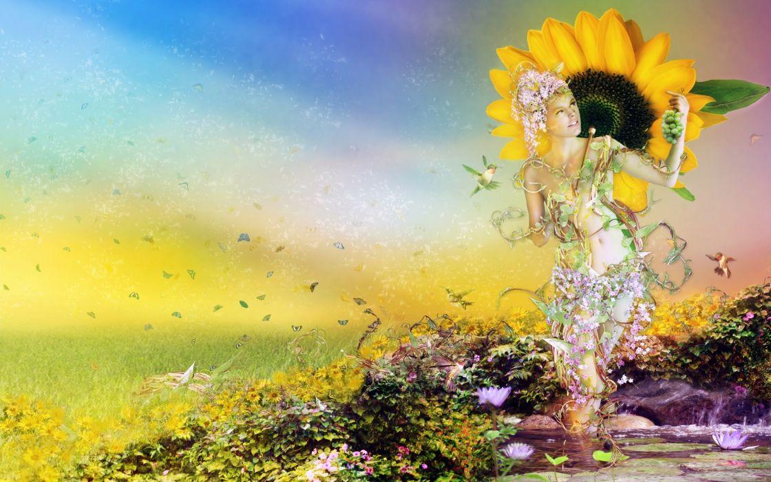 fantasy art cg digital women babes nature landscapes flowers dream sunflower butterfly mood wallpaper