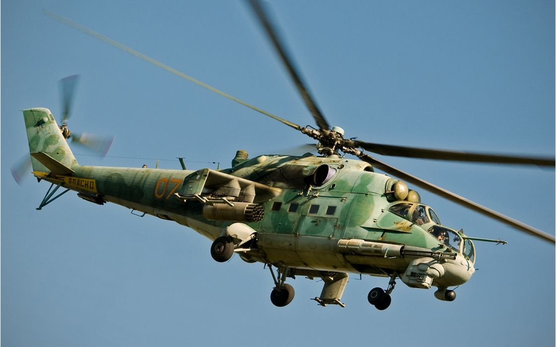 Mi-24 russia helicopter weapons transport guns flight fly wallpaper