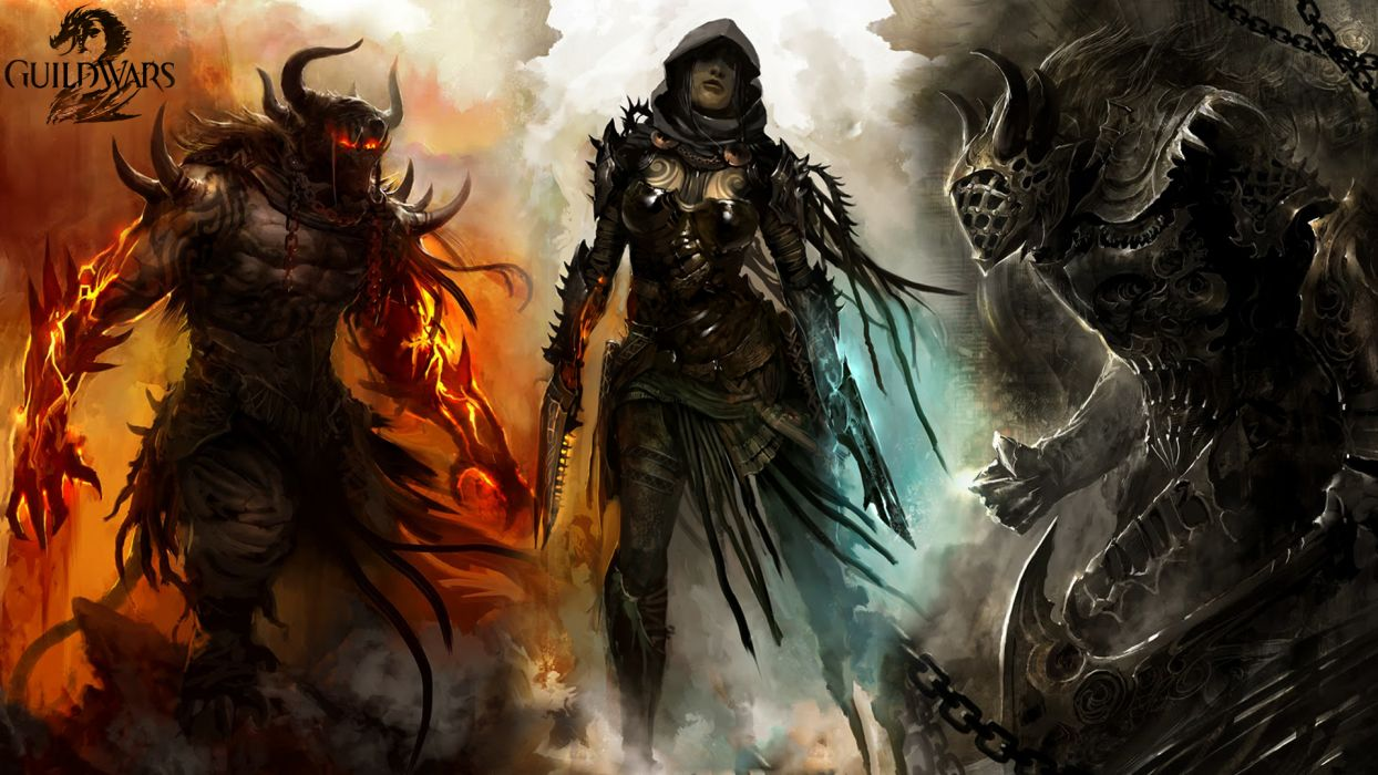 Guild Wars 2 fantasy art warriors weapons demon dark monster creature wallpaper