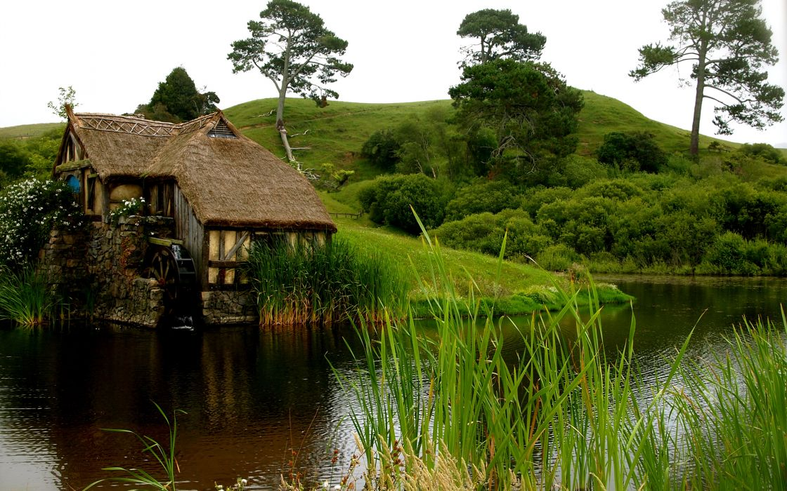 house mill pond water grass flowers hill lakes nature landscapes trees buildings wallpaper