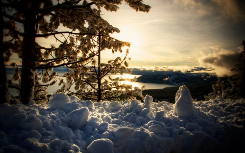 landscapes winter snow sky clouds sunset sunrise wallpaper