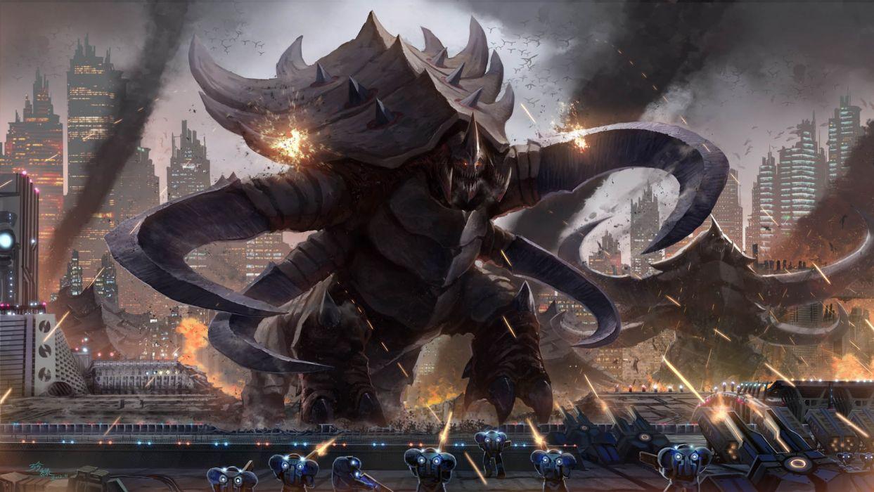 Starcraft Monsters Creatures Battle War Soldiers Warriors Weapons