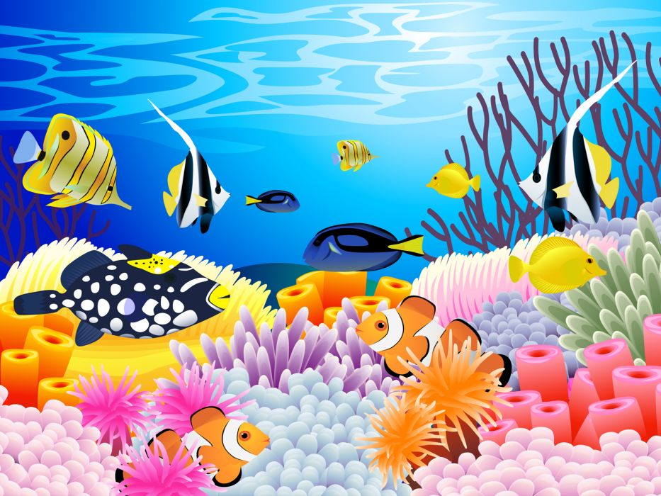 art vector underwater ocean sea color tropical coral reef wallpaper