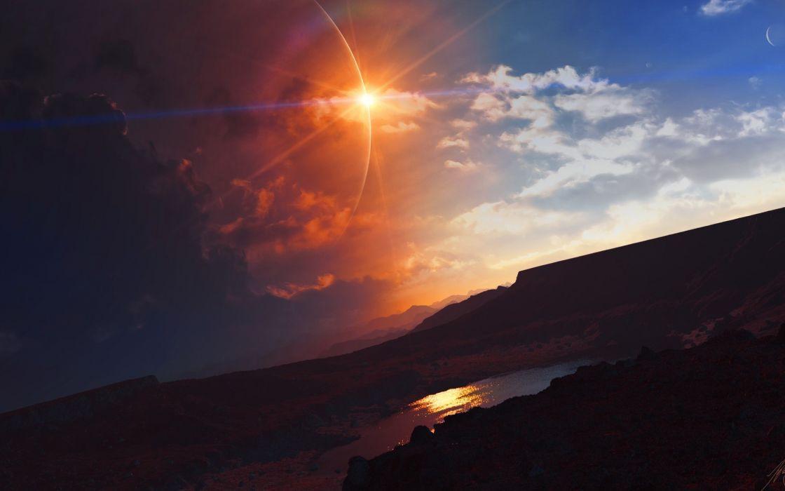 landscapes lakes reflection cg digital art sky clouds sunset sunrise wallpaper