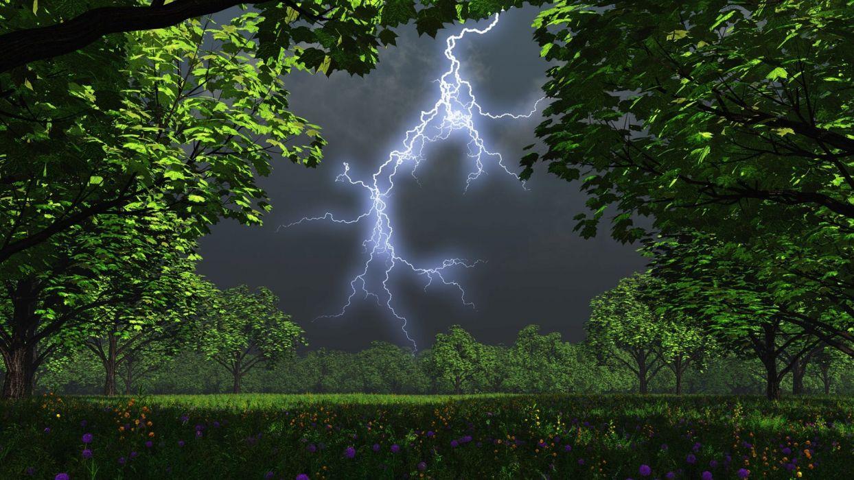 cg digital art landscapes trees storm lightning wallpaper