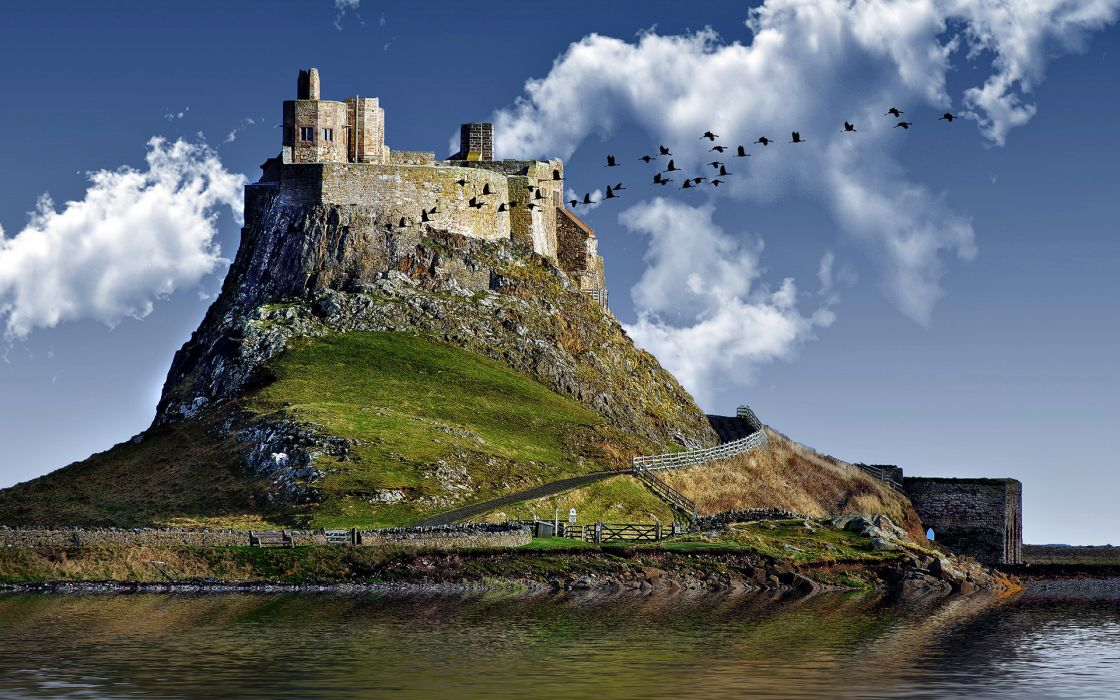 castle birds sky clouds wallpaper