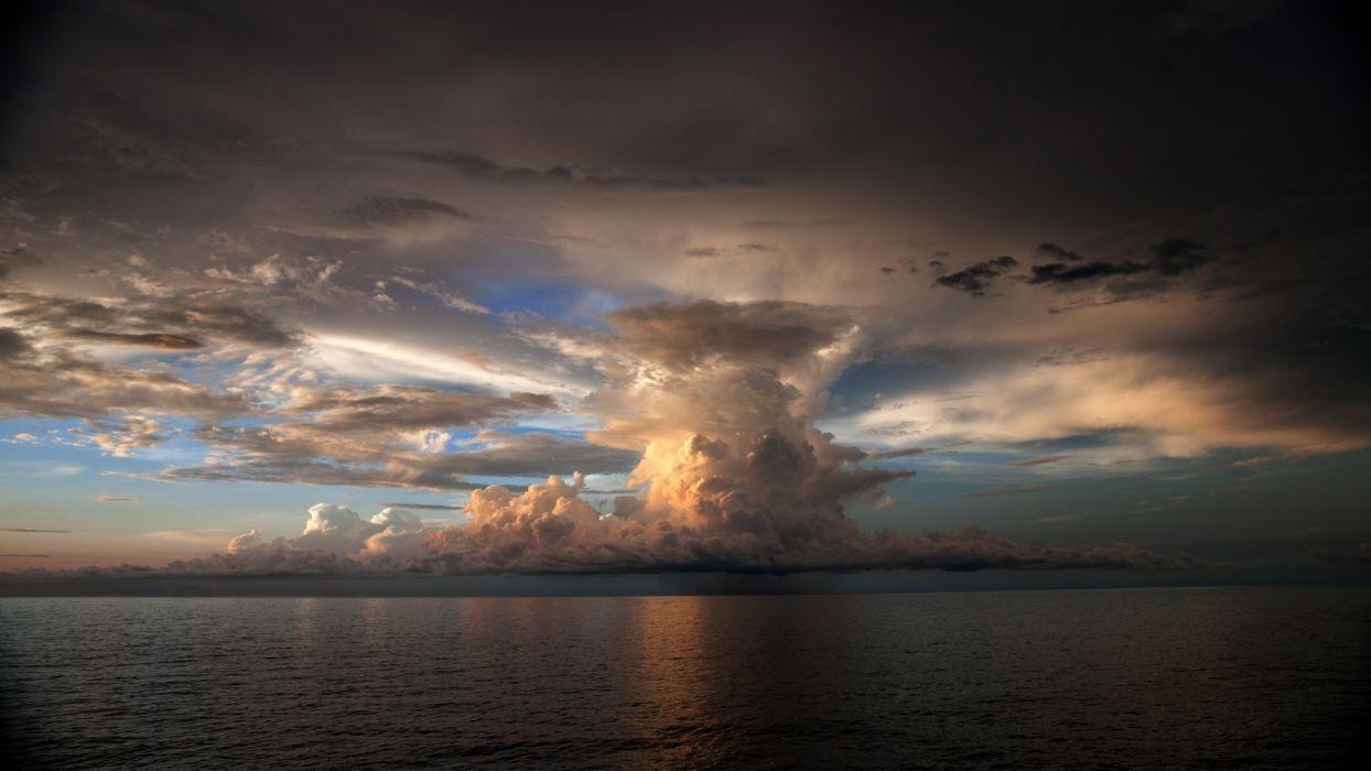 clouds ocean sea reflection wallpaper