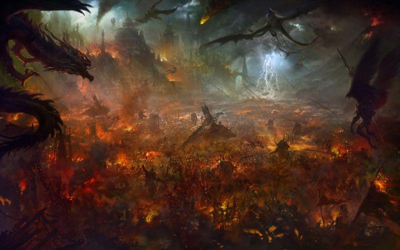 fantasy art army fire castles warriors wallpaper