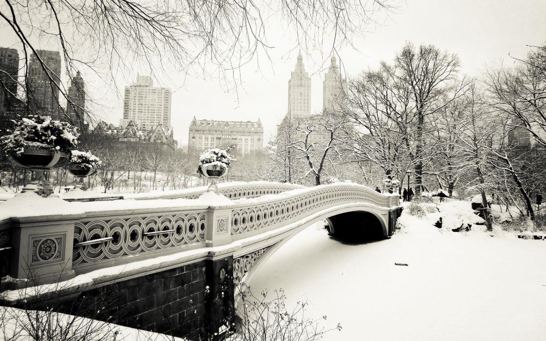 bridges cities winter black white wallpaper