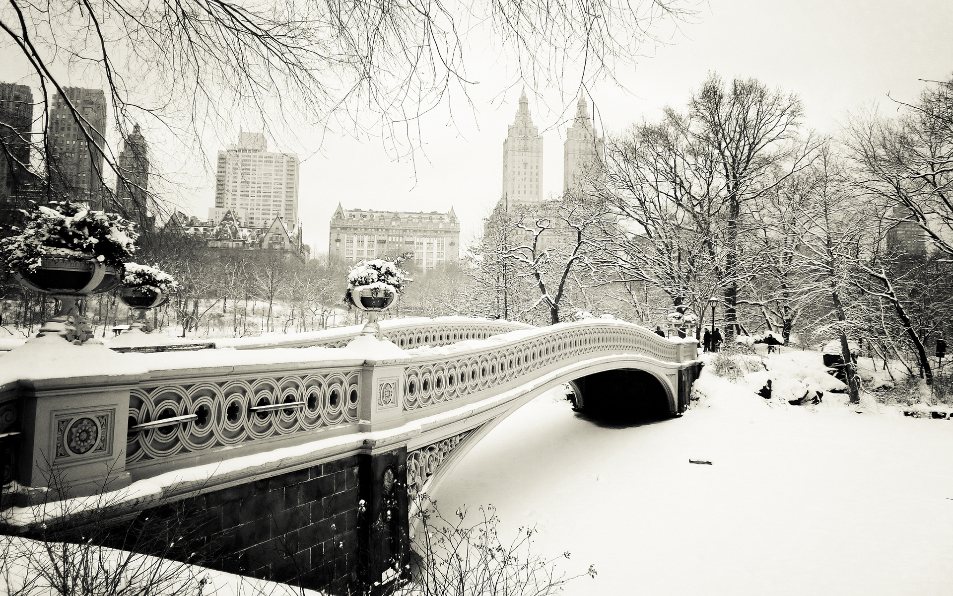 Bridges cities winter black white wallpaper | 1920x1200 ...
