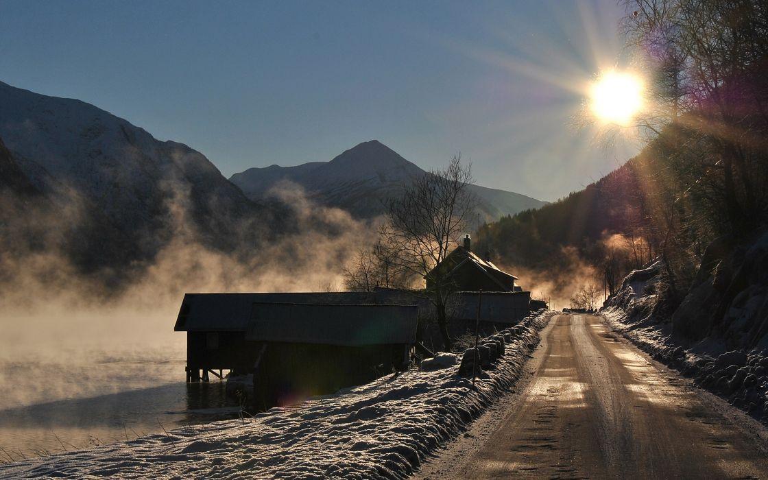 winter house sunrise wallpaper