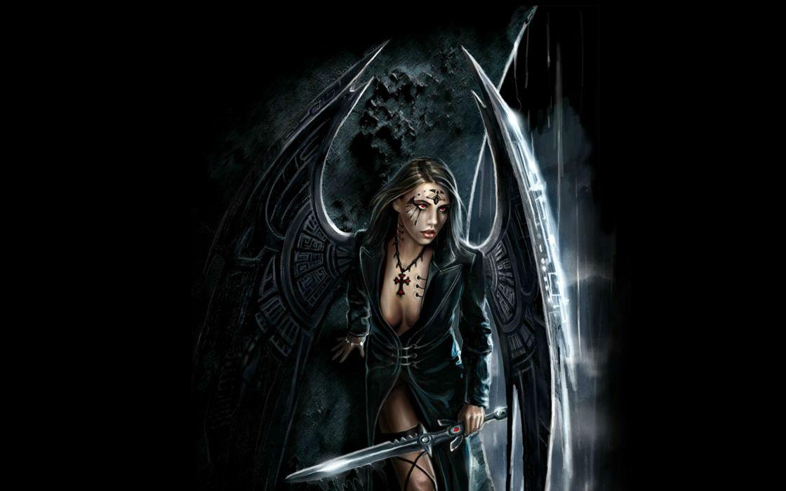 fantasy art warriors gothic angels weapons sword women sexy babes wallpaper