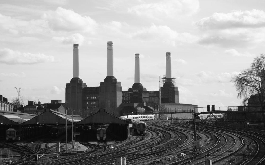 railroad tracks power plants industrial plants battersea black wallpaper