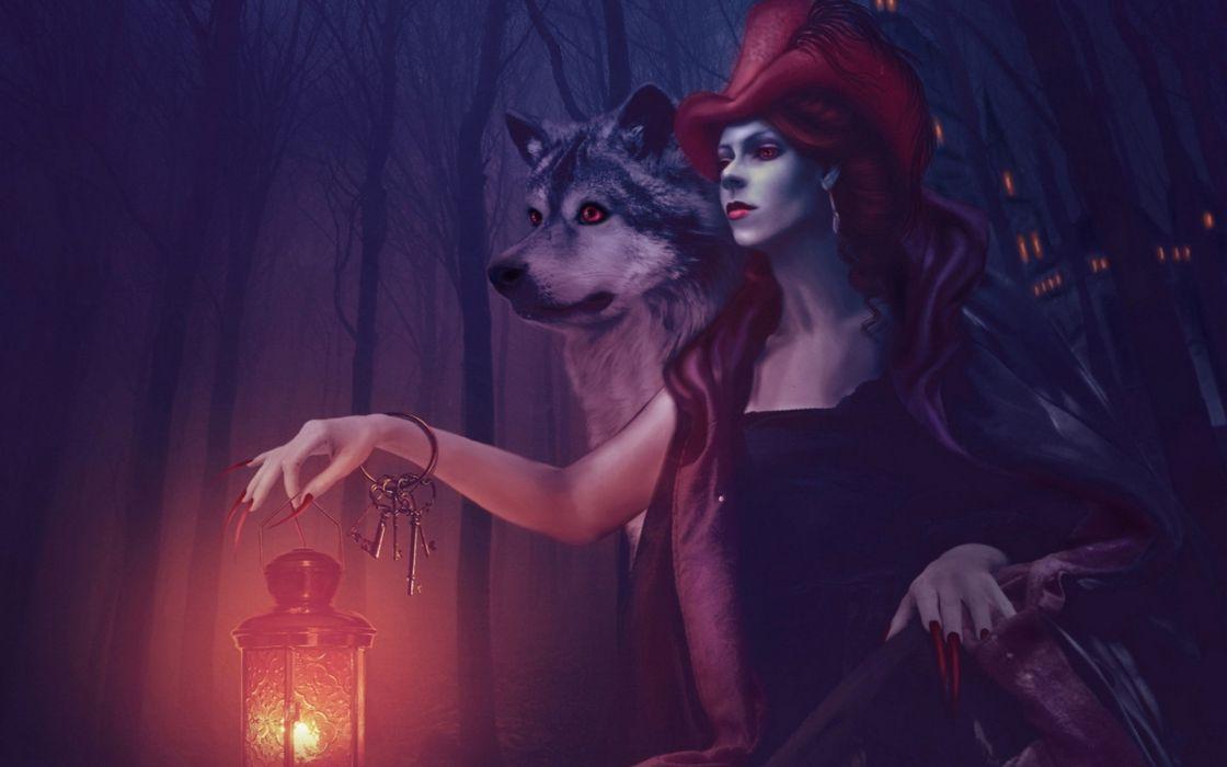 Fantasy Witch Dark Wolf Wallpaper