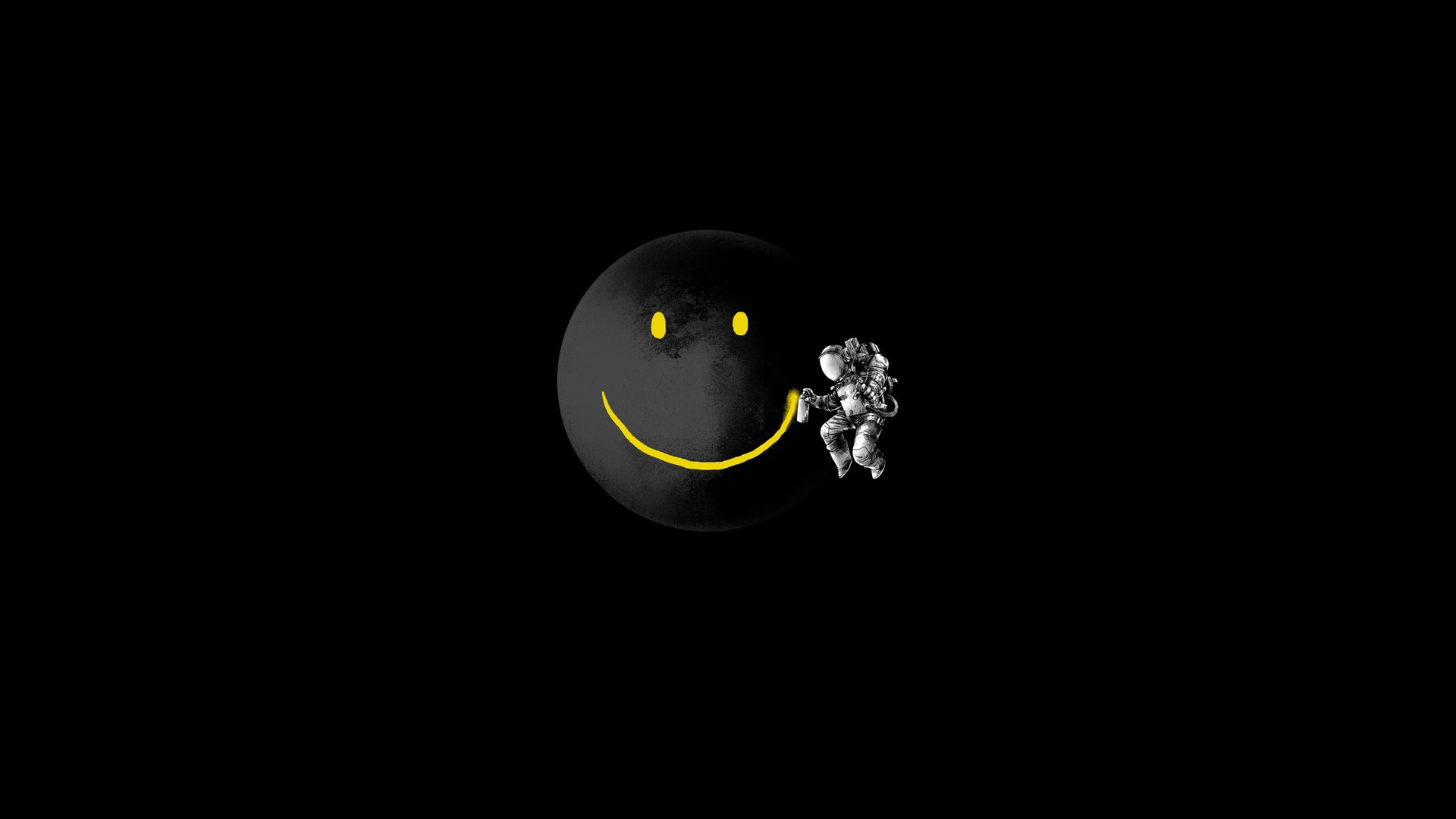 Smiley Face Spaceman Black Background 1920A Wallpaper