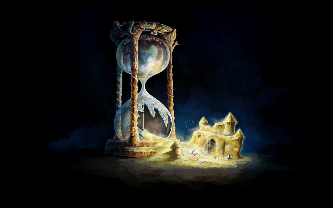 Hourglass Drawing Sand Castle Broken Sand Cracked fantasy art wallpaper