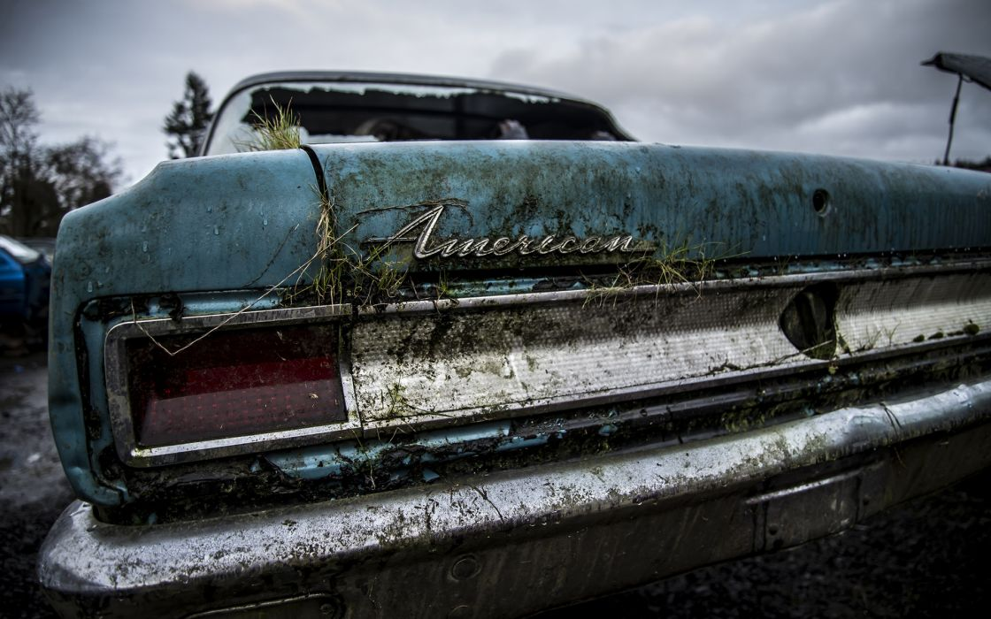 American Classic Car Classic Overgrowth Abandon Deserted Urban Decay Tail Light Grass Dirty wallpaper