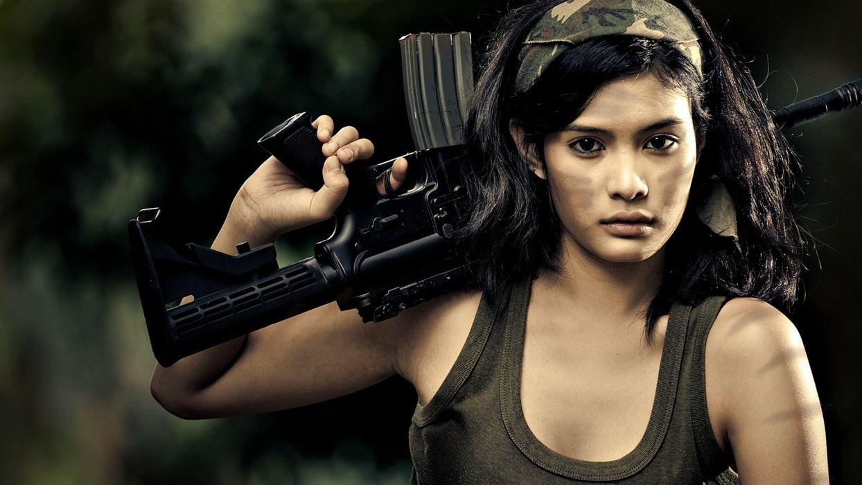 women rifles soldier colt m4a1 girl brunette wallpaper