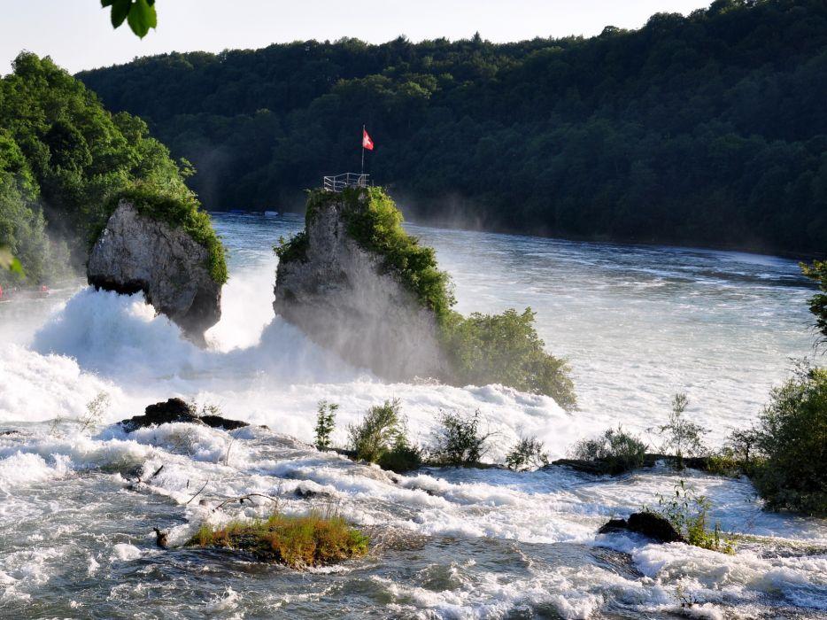 Waterfalls Rivers Rhine Switzerland wallpaper