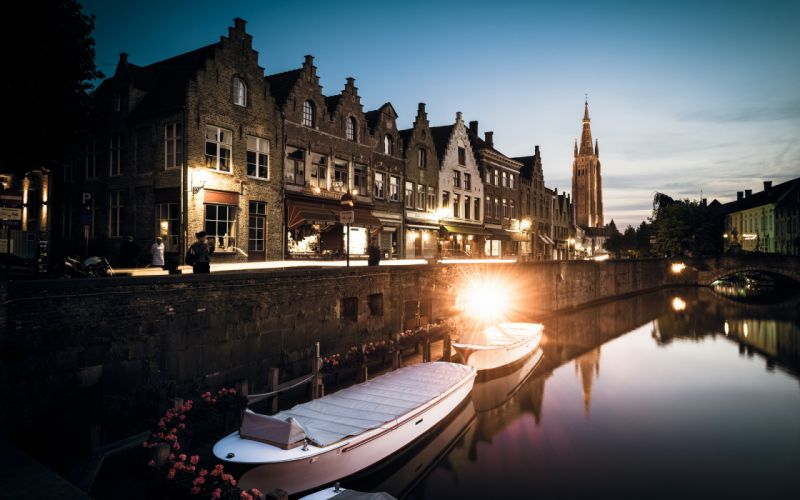 _ 1 a Bruges Buildings Canal Boats Lights Reflection wallpaper