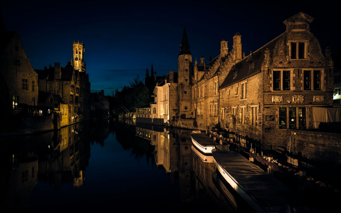 Bruges Night Buildings Canal Reflection wallpaper