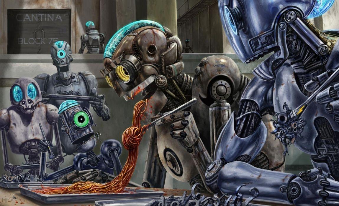 Robot Eating Spaghetti sci fi wallpaper