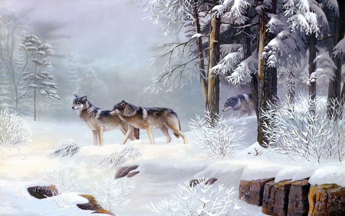 wolves winter wallpaper