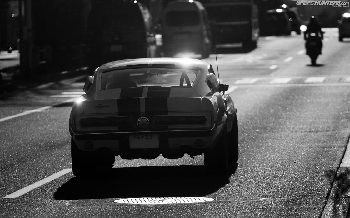 Ford Mustang Classic Car Classic GT500 Shelby Elanor BW wallpaper