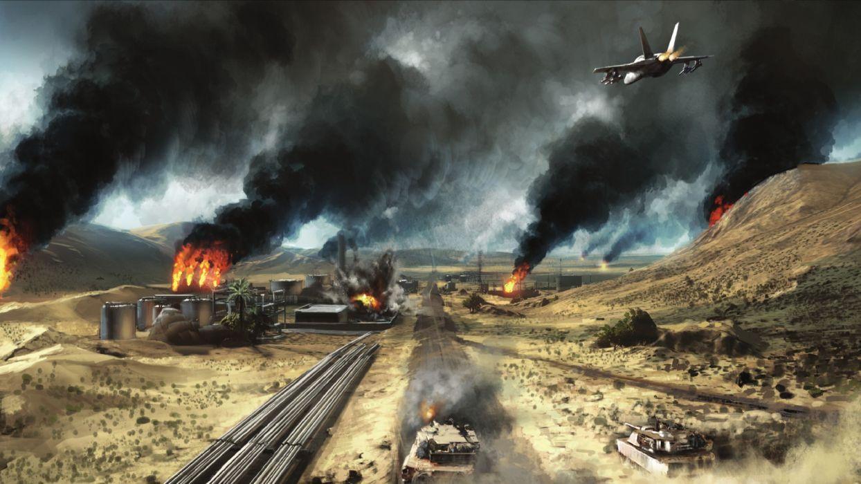Battlefield Jet Smoke Tank Fire wallpaper