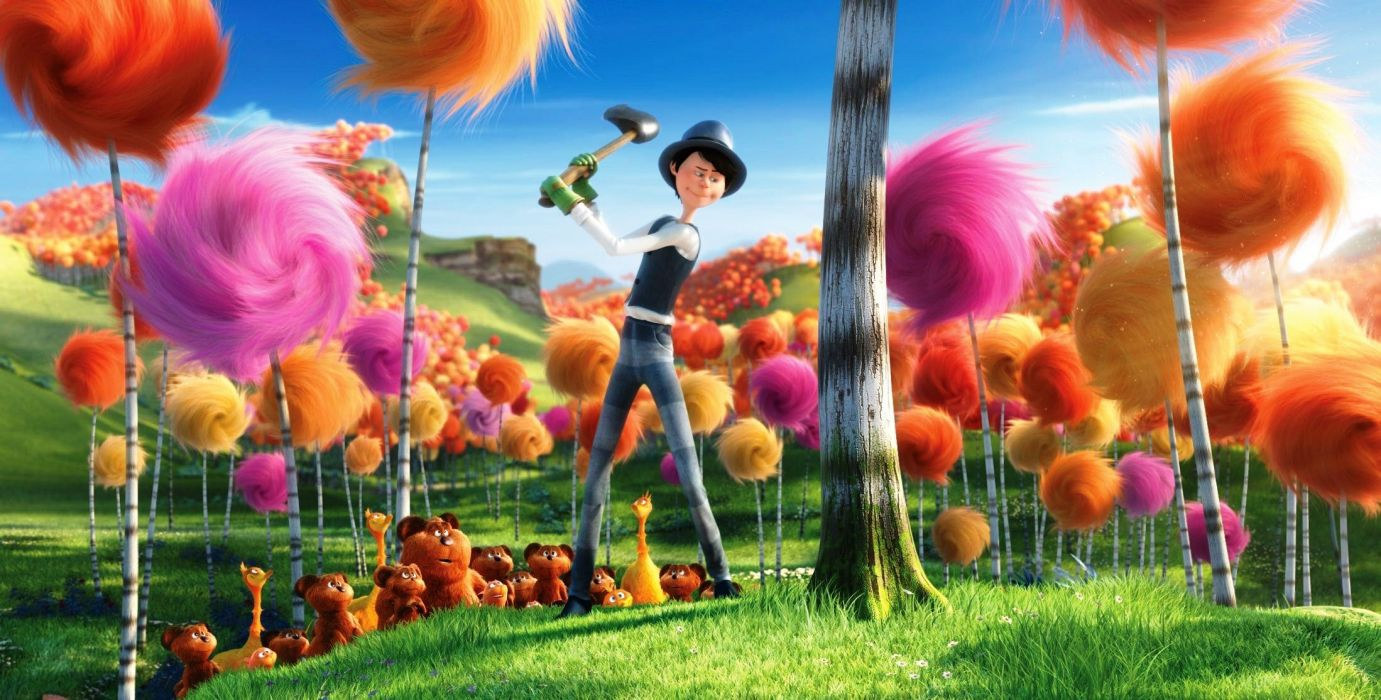 Cartoon loraks lorax Denis De Vito wood raznotsvetie wallpaper