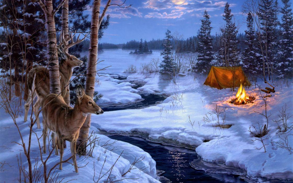 Darrell Bush Moon Shadows painting winter snow animals deer wallpaper