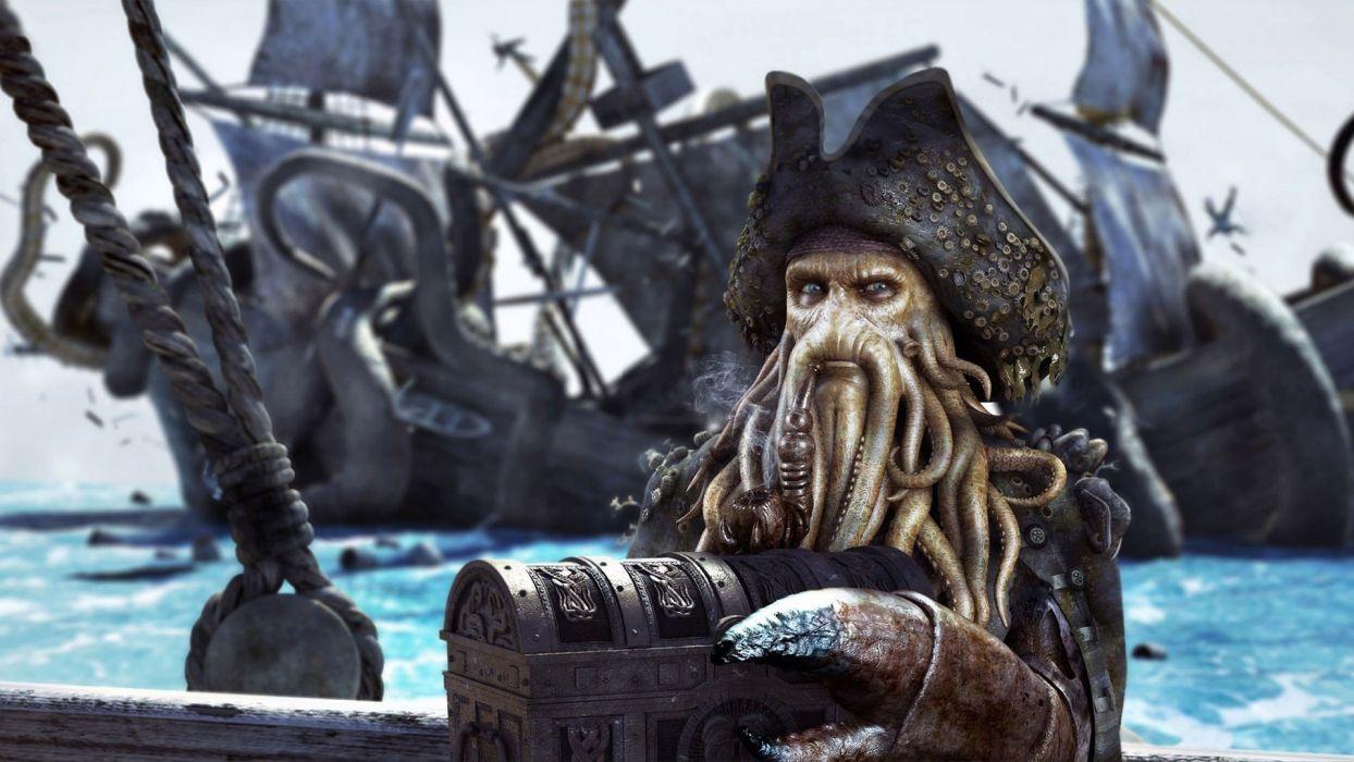 Davy Jones Pirates of the Caribbean Smoking Pipe Chest wallpaper
