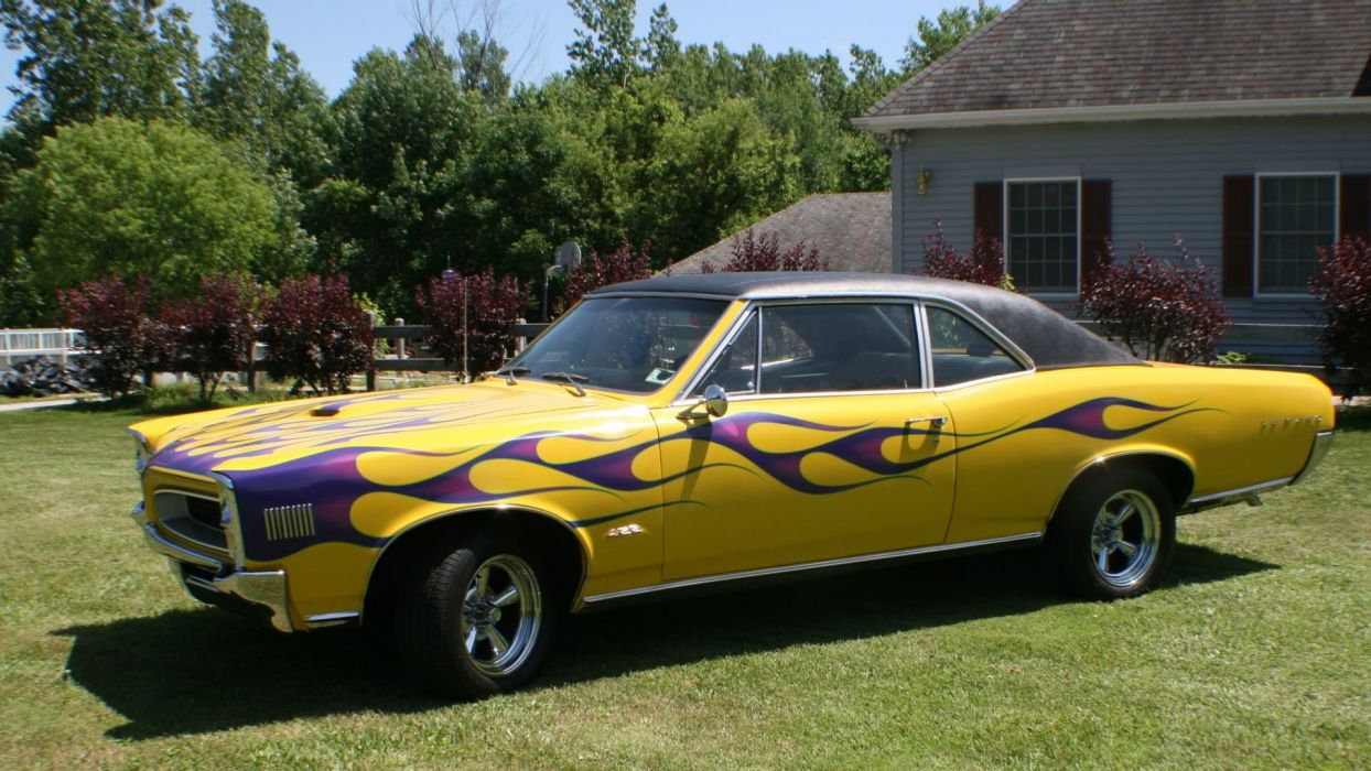 1966 Yellow Flamed Pontiac LeMans wallpaper