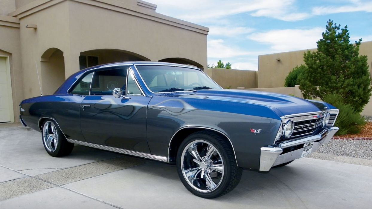 1967 Blue Flamed Chevrolet Chevelle wallpaper