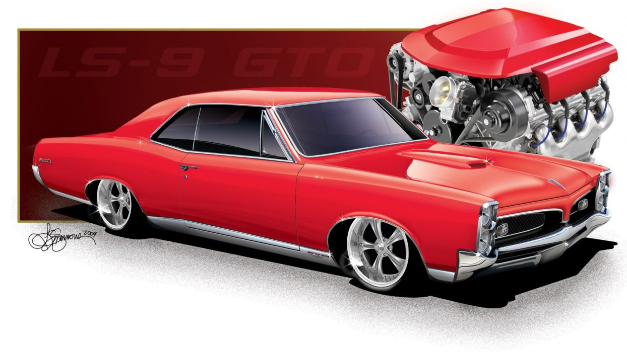 1967 Red LS9 Pontiac GTO wallpaper