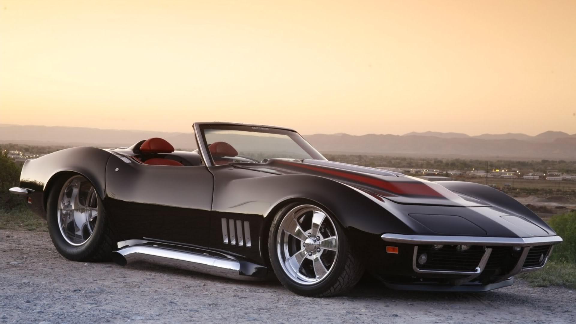 1969 Black Chevrolet Corvette Roadster Wallpaper