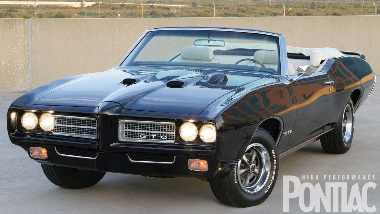 1969 Black Pontiac Convertible GTO wallpaper